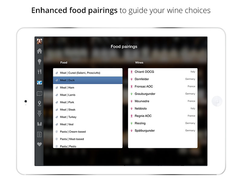 Food Pairings | Wine App for iPad & iPhone